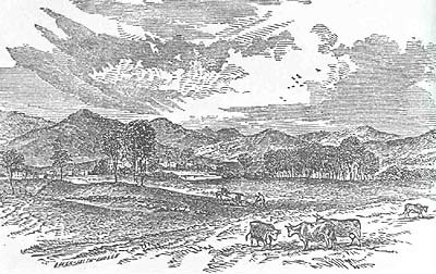 Engraving of Bethel mountain scenery