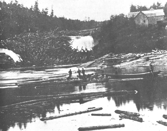 Log jam at Rumford falls