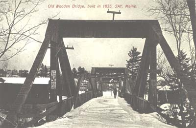 Wooden bridge at Jay, Maine